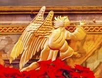 Brązowej anioł dekoraci Bożenarodzeniowa misja Santa Barbara Kalifornia Fotografia Royalty Free