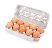 brązowić kartonu jajek pakunek dziesięć Zdjęcia Stock