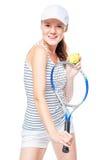 Brązowooki gracz w tenisa pozować zdjęcia royalty free