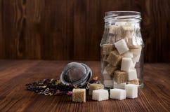 brązowy kostki cukru białego Zdjęcie Royalty Free