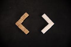 brązowy kostki cukru białego Zdjęcia Stock