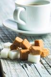 brązowy kostki cukru białego Obrazy Royalty Free