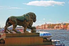Brązowy lew na bankach Neva rzeka Bulwar w St Petersburg, Rosja Zabarwiająca fotografia Fotografia Stock