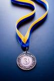 Brązowy medal na błękitnym tle Obraz Stock