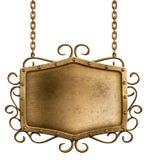 Brązowy metalu signboard obwieszenie na łańcuchach odizolowywających Obraz Stock