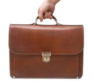 brązowy walizkę odseparowana skóry Obrazy Stock