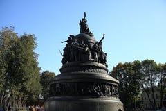 Brązowy zabytek milenium Rosja, czerep drugi rzeźbiony rejestr zdjęcie stock