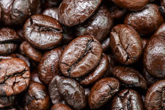 brązowy zamykają fasoli kawy, obrazy stock
