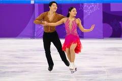 Brązowych medalistów Maia Shibutani andI Alex Shibutani Stany Zjednoczone wykonuje w Drużynowym wydarzenie lodu tana skrótu tanu Zdjęcie Royalty Free