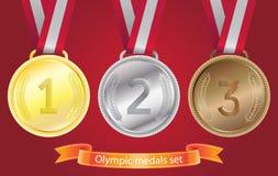 brązowych złotych medali olimpijski setu srebro Fotografia Royalty Free
