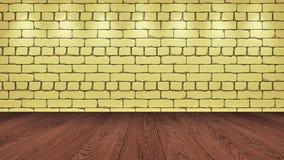 Brązu drewniany stołowy wierzchołek w tle jest jasnożółtym starym cegłą Światło reflektorów skutek na ścianie - może używać dla p ilustracji