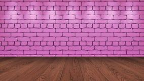 Brązu drewniany stołowy wierzchołek w tle jest różowym starym cegłą Światło reflektorów skutek na ścianie - może używać dla pokaz ilustracja wektor
