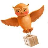 Сыч летания с посылкой Иллюстрация в стиле шаржа с br Стоковое фото RF