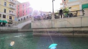 Br?cke Venedigs Doha Rialto stock footage