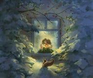 bär den santa för natten för illustrationen för julclaus gåvor vektorn Royaltyfri Foto