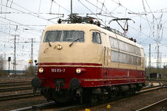 Br-103. Famous German electric locomotive in a closeup stock photo