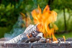 Brûlure de rondins avec une flamme lumineuse Photo stock