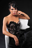 Brınette woman wear black evening gown Royalty Free Stock Photos