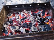 Br?nnande kol och vedtr? p? gallerspisgallret F?rberedelse av kol f?r grillfest i det ?ppna gallret Begreppet av royaltyfri bild