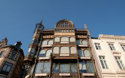 Br?ssel, Belgien: Fassade Art Nouveau Musical Instruments Museums, sobald ein Kaufhaus genannt Old England stockbilder