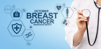 Br?stcancermedvetenhetm?nad oktober L?karunders?kning- och sjukv?rdbegrepp p? sk?rmen vektor illustrationer