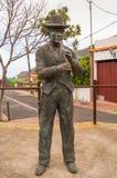 Brązowa statua fletowy gracz w tradycyjnym Canarian odziewa Fotografia Royalty Free