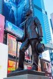 Brązowa statua na times square w Manhattan, NYC Zdjęcia Royalty Free