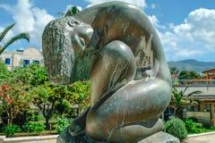 Brązowa statua naga kobieta w Budva Obrazy Royalty Free
