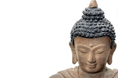 brązowej Buddha twarzy odosobniony biel Zdjęcia Royalty Free