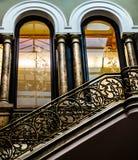Brązowi schodki z wielkim projektem zdjęcie stock