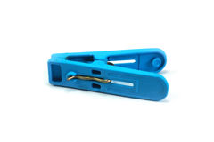 Braçadeira plástica azul de pano fotografia de stock royalty free
