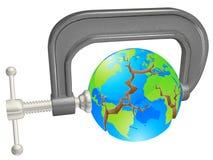 Braçadeira que quebra o globo do mundo Imagem de Stock