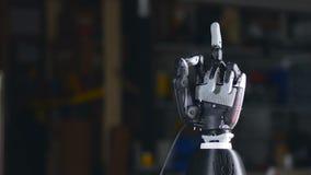 Braço biônico Feito à mão robótico inovativo na impressora 3D Tecnologia futurista Timelapse filme