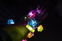 Braço completamente das luzes com corações fotografia de stock royalty free