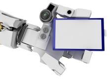 Braço magro do robô, sinal azul Imagens de Stock