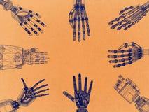 Braço robótico - arquiteto retro Blueprint das mãos ilustração do vetor