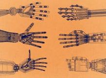 Braço robótico - arquiteto retro Blueprint das mãos ilustração royalty free