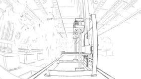 Braço robótico que monta 3d a impressora On Conveyor Belt ilustração do vetor