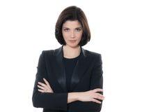 Braços caucasianos sérios bonitos do retrato da mulher de negócio cruzados Fotos de Stock