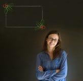 Braços da mulher, do estudante ou do professor dobrados olhando o menu do azevinho do Natal para fazer a lista de verificação Fotografia de Stock Royalty Free
