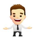 Braços de sorriso de Character With Open do homem de negócios Fotografia de Stock Royalty Free