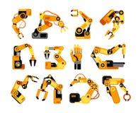 Braços do robô da fábrica que fabricam o grupo do vetor do equipamento industrial Fotografia de Stock Royalty Free