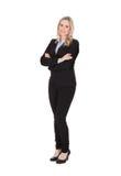 Braços eretos da mulher de negócios cruzados sobre o fundo branco Imagens de Stock Royalty Free