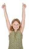 Braços felizes da rapariga levantados Fotos de Stock Royalty Free