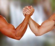 Braços fortes com os músculos que tomam um pulso imagens de stock royalty free