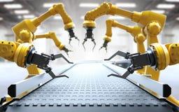 Braços robóticos com correia transportadora ilustração royalty free
