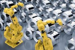 Braços robóticos com rolo das chapas de aço Imagem de Stock