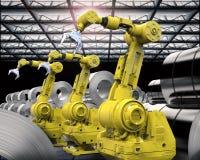 Braços robóticos com rolo das chapas de aço Foto de Stock