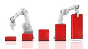 Braços robóticos industriais que constroem a carta ilustração stock