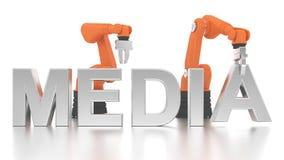 Braços robóticos industriais que constroem a palavra dos MEDIA Imagens de Stock Royalty Free